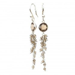 Earring silver and smoky quarz