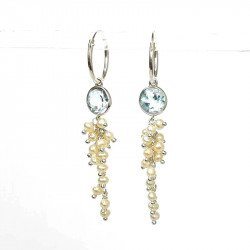 Earring silver Topaze and fresh water Pearl