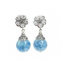 Earring silver and Aqua-marine