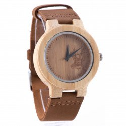 นาฬิกาข้อมือ หน้าปัดไม้สลักลายกวาง
