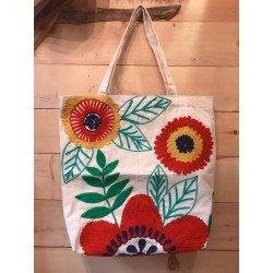 กระเป๋าผ้าลายดอกไม้