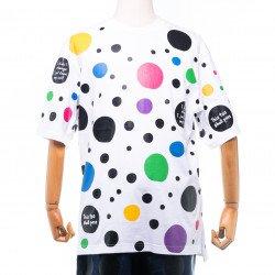 เสื้อสีขาว ทรงหลวมพิมพ์ลาย (จุดสี )
