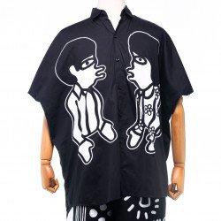 เสื้อเชิ๊ตทรงหลวม สีดำ พิมพ์ลาย ช+ญ