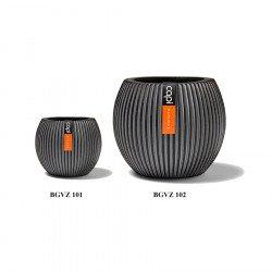 กระถางต้นไม้ วัสดุไฟเบอร์กลาส Indoor (Vase Ball Groove Black)