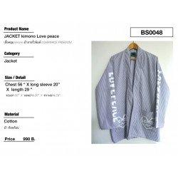 เสื้อคลุม Kimono ผ้าลายริ้วพิมพ์ Lovepeace Freedom