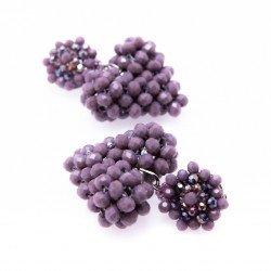 Mauve Heart Crystal Drop Earrings