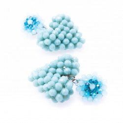 Sky Blue Heart Crystal Drop Earrings