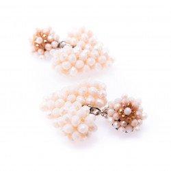 Cream Heart Crystal Drop Earrings
