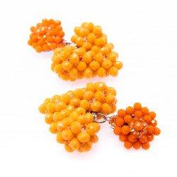 Tangerine Heart Crystal Drop Earrings