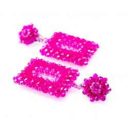 Prettily Pink Crystal Dangle Earrings