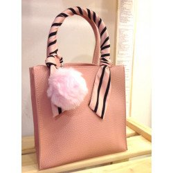 Handbag with side strap in pink