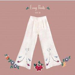 กางเกงขายาว ปักลายดอกไม้