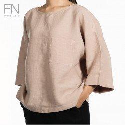INCO เสื้อผู้หญิง คอปาดแขน 3 ส่วน 100% LINEN