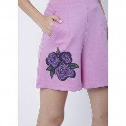 Lady de Cheval กางเกงผู้หญิงขาสั้นพิมพ์ลายดอกไม้ ผ้าcotton spandex