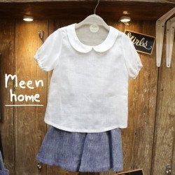 เสื้อเด็กหญิง คอจีนสีขาว+กระโปรงกางเกงลินิน