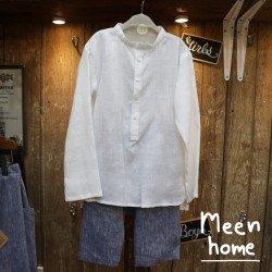 เสื้อเด็กชาย คอจีนสีขาว + กางเกงฮาเล็ม