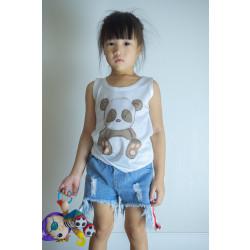 เสื้อกล้ามขาวเด็ก ลายหมีแพนด้า