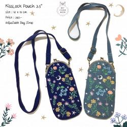 กระเป๋า Kiss lock : ลายดอกไม้ [กรม/เทา]