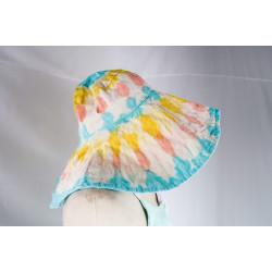 หมวกปีกกว้างมัดย้อม ฟ้า/เหลือง