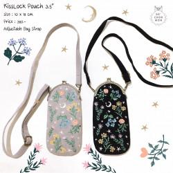 กระเป๋า Kiss lock : ลายดอกไม้ [น้ำตาลอ่อน/ดำ]