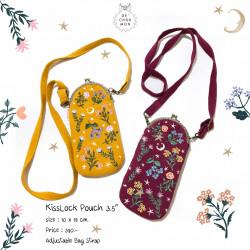 กระเป๋า Kiss lock : ลายดอกไม้ [เหลือง/แดง]