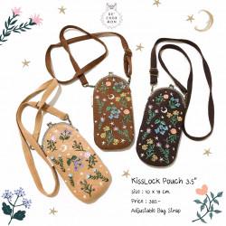 กระเป๋า Kiss lock : ลายดอกไม้ [คาราเมล/น้ำตาล/น้ำตาลเข้ม]