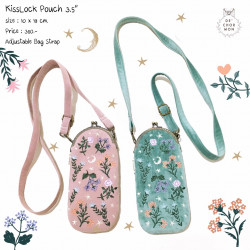 กระเป๋า Kiss lock : ลายดอกไม้ [ชมพู/ฟ้า]