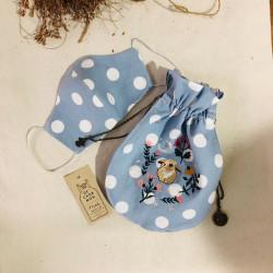 เซ็ต ~ กระเป๋าน้อย + หน้ากากผ้า: กระต่าย [ลายจุดสีฟ้า]