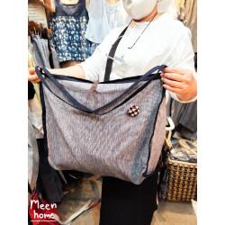 กระเป๋าผ้าลินินแท้ 100% [จุของได้เยอะ!!] : สีกรม