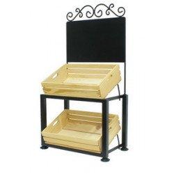 ชั้นโชว์ตั้งโต๊ะรวมลังไม้ 2 ใบ ป้ายมีลวดลาย