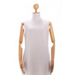(สีขาว) เดรสผู้หญิงแขนกุด