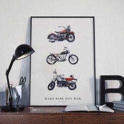 โปสเตอร์งานศิลปะ Make Ride Not War (การพิมพ์ดิจิทัลสำหรับภาพวาดต้นฉบับสีน้ำ)