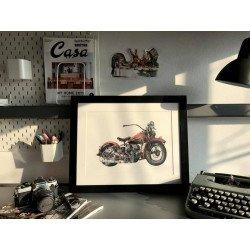 ภาพวาดสีน้ำ Harley Davidson WL Flathead,