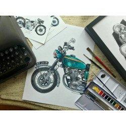 ภาพวาดสีน้ำ Honda CB750 (1970) : Make Ride Not War