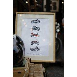 •โปสเตอร์ 5 มอเตอร์ไซค์• Triumph T120 / Harley-Davidson KR 750 / Honda RC30 / Norton Model30 / Italjet M5B